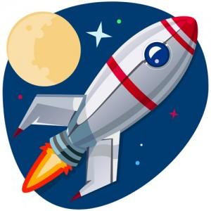 Rocket ship, Stars and Moon