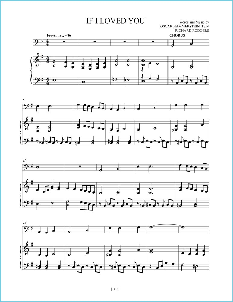 """Great American Songs: Duets for Piano and Cello"" page 100: ""If I Loved Yoy"" sheet music sample."