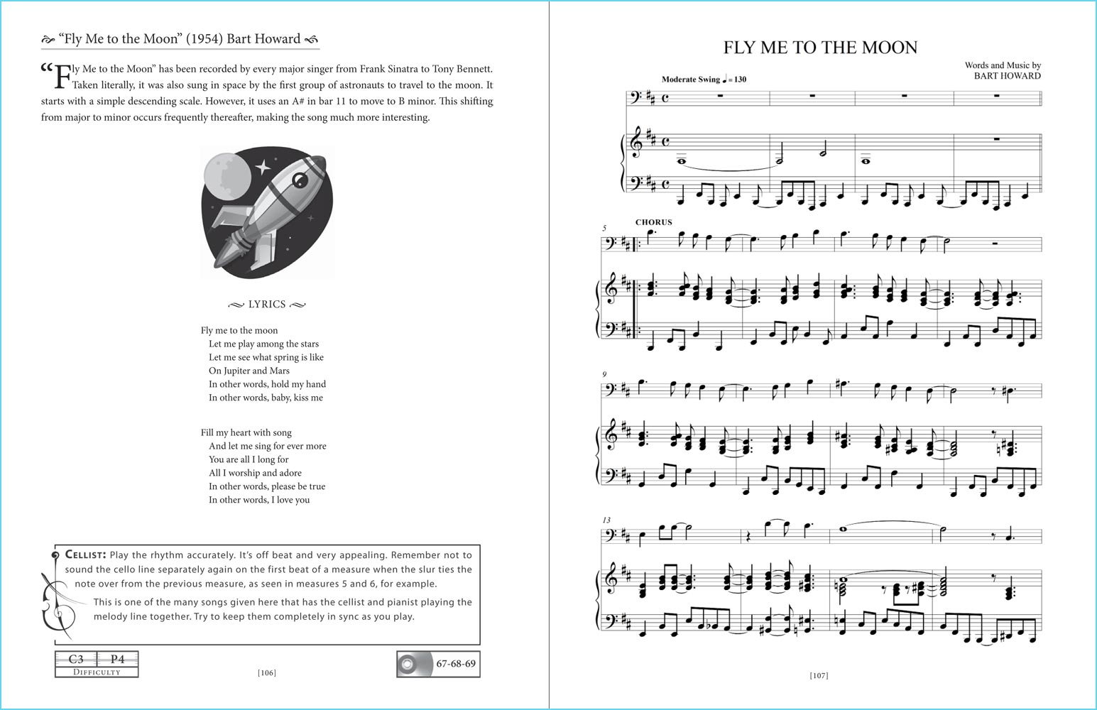 """Great American Songs: Duets for Piano and Cello"" pages 106-107: ""Fly Me To The Moon"" sheet music sample."